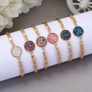 Women-Druzy-Natural-Geode-Stone-Bangles-Rhinestone-Pave-Bracelet-Jewelry-Gift