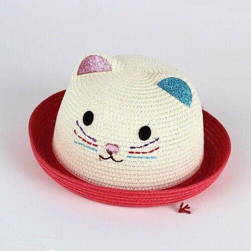 Girls Caps Kitty Straw Cute Bowknot Brim Beach Sun Summer UV Protection Headwear