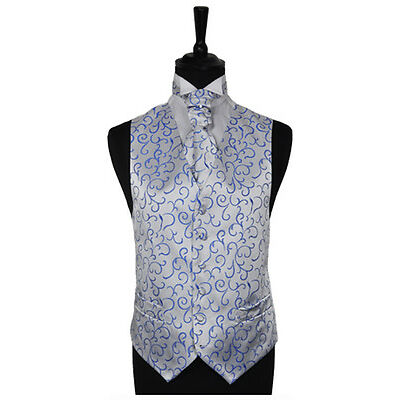 "Men's Scroll Special Occasion Wedding Groom Waistcoat & Cravat - Size 34"" - 60"""