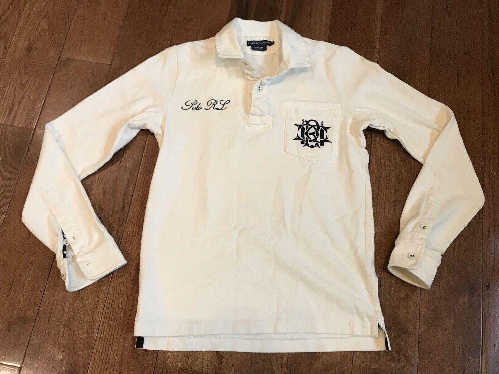 Vintage damen Ralph Lauren RCC Cricket Club Emblem Polo Shirt Ivory schwarz M