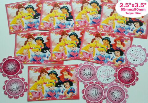 DP8 8 DISNEY PRINCESS Card Making Toppers PRINTED Sentiments Hand Made