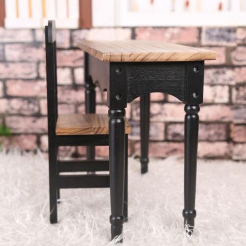 70cm BJD Dolls DIY Assembled Wooden Student Desk Chair Furniture Set