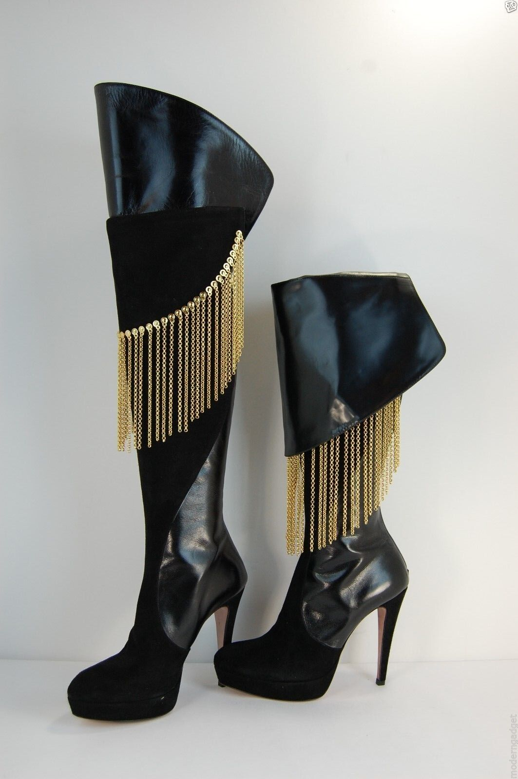 FRANCESCO SACCO FOLD OVER THE KNEE BOOTS BLACK&GOLD CHAIN FRINGE US 6