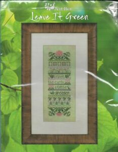 Just-Nan-LEAVE-IT-GREEN-Sampler-Kit-with-Fabric-Floss-amp-Embellishments-RARE