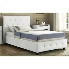 Dhp 4027139 Dakota Upholstered Faux Leather Platform Bed With Wooden Slat Support And Tufted Headboard Footboard Full Size White