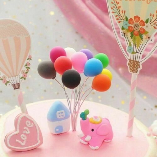 5PCS  Mini Balloon Birthday Cake Toppers Party Wedding Cupcake Dessert Pick