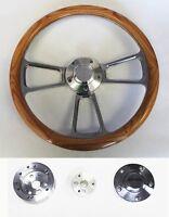 60-69 C10 C20 C30 Chevy Truck Oak Wood Steering Wheel & Billet 14 Bowtie Cap