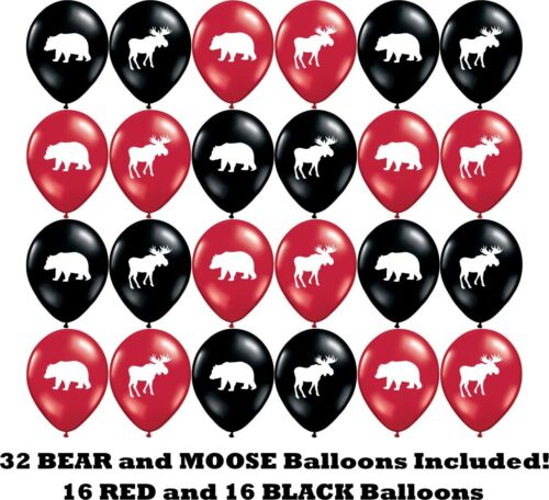 "Moose /& Bear Party Balloons 12/"" Latex Balloons for Lumberjack Parties! 32"