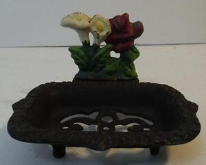 RUSTIC-CAST-IRON-PAINTED-FLOWER-SOAP-DISH-OR-SPONGE-HOLDER