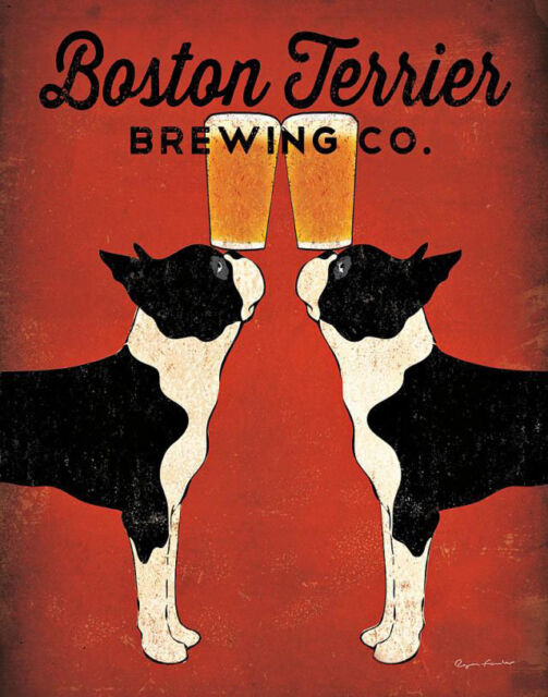 BOSTON TERRIER BREWING Co.DOG PRINT RETRO ADVERTISING ART POSTER - Beer - Lager