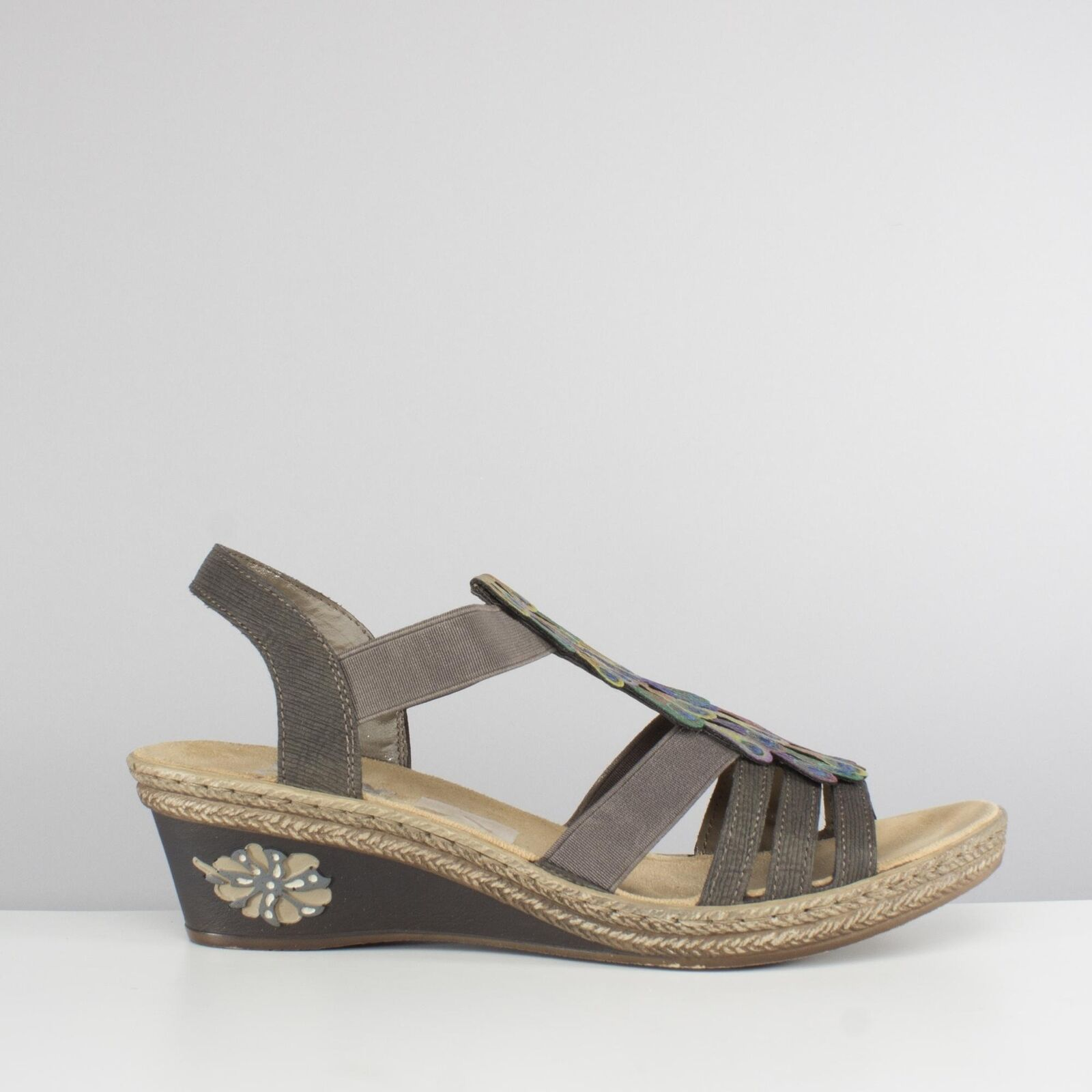 Rieker V2426-45 Ladies Womens Summer Beach Wedge Heel Open Toe Sandals Grey
