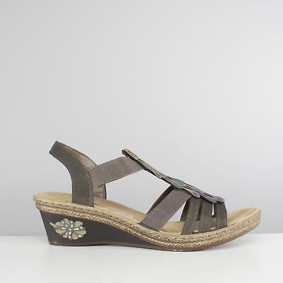 Rieker V2426 45 Ladies Womens Summer Beach Wedge Heel Open Toe Sandals Grey