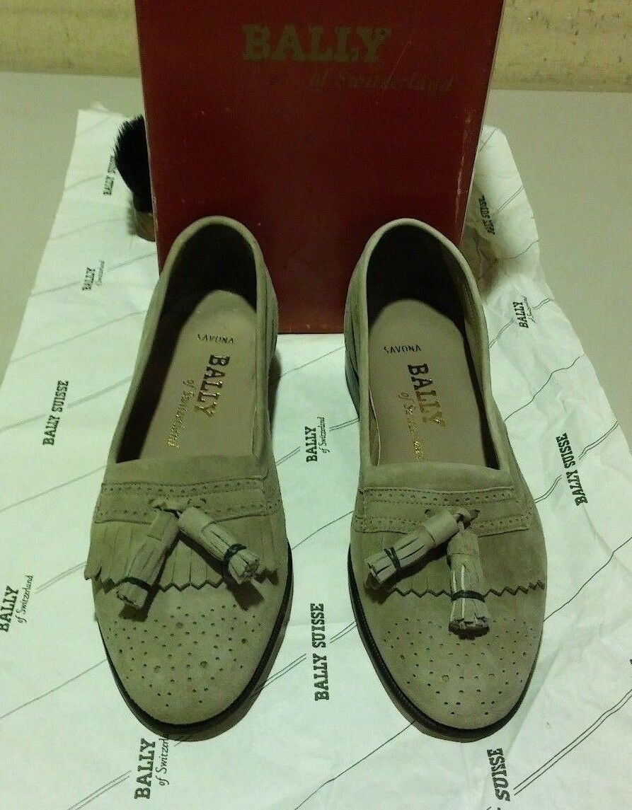 New Bally Savona 6.5 M taupe sueded leather  (995)