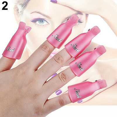 10x Popular Plastic Nail Art Soak Off Clip Cap UV Gel Polish Remover Wrap Tool