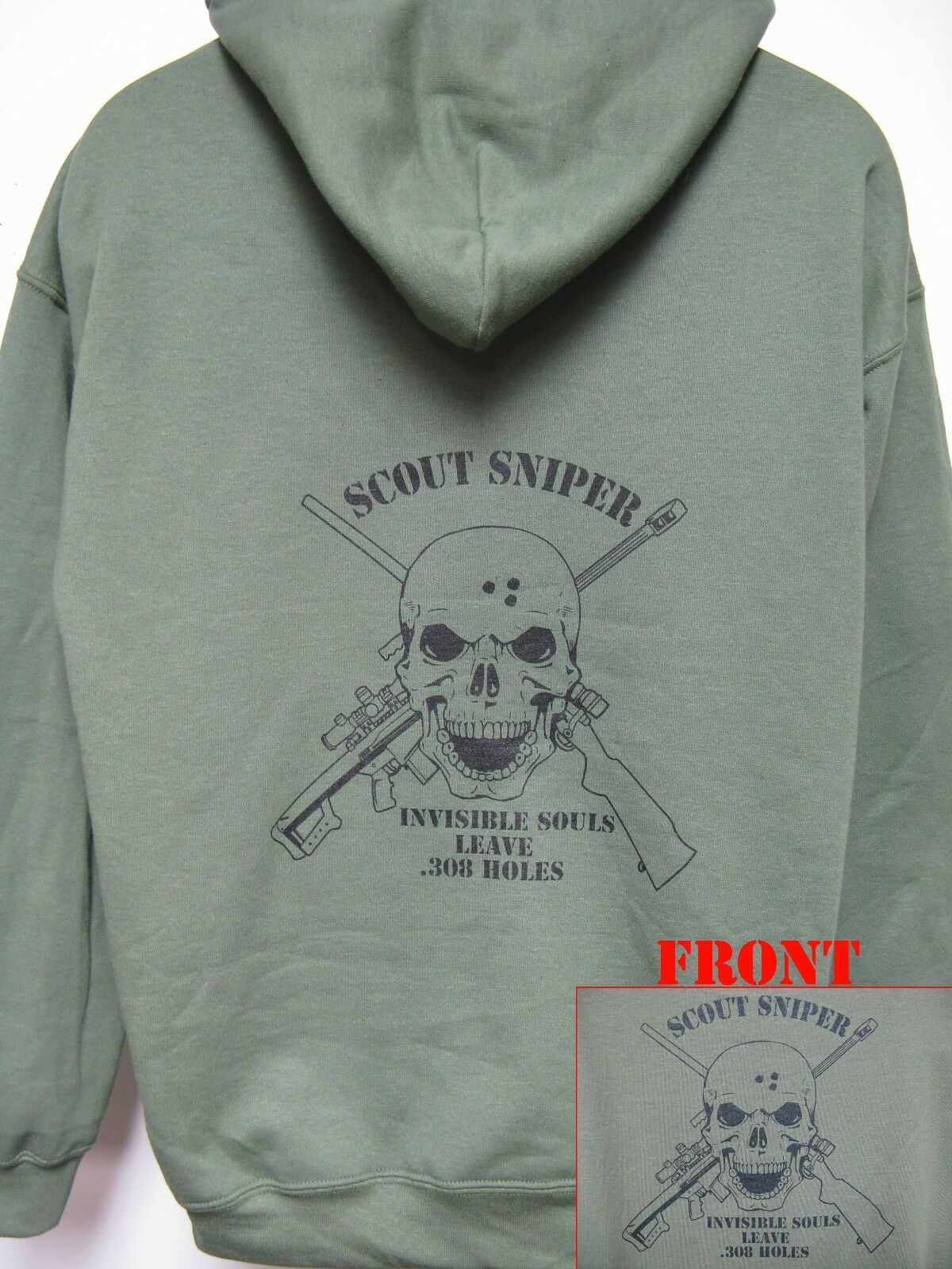 SCOUT SNIPER HOODIE/ MILITARY/ INVISIBLE SOULS LEAVE .308 HOLES/ NEW