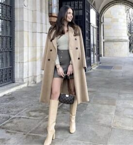 ZARA DOUBLE BREASTED FAUX FUR COAT CAMEL SIZE L SOLD OUT BLOGGERS BNWT