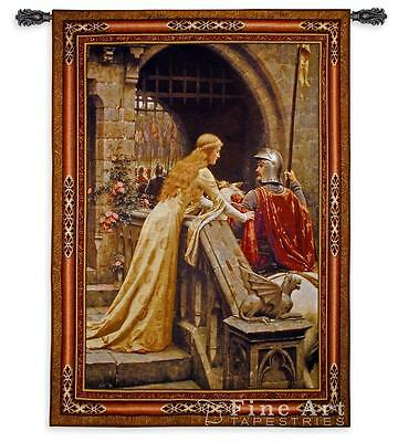 """BS 76/""""x53/"""" Medieval TAPESTRY Knight Lady GODSPEED Leighton"""