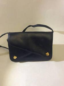 4da5aaeb0996 Image is loading Vintage-Genuine-Leather-Navy-Blue-Handbag-SM-Co-