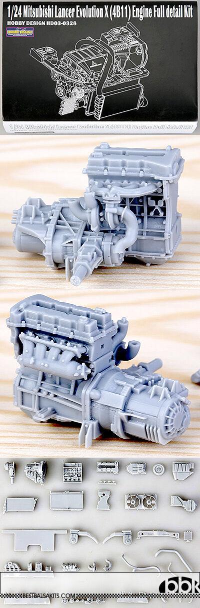 1 24 MITSUBISHI LANCER EVOLUTION X (4B11) ENGINE FULL KIT for TAMIYA