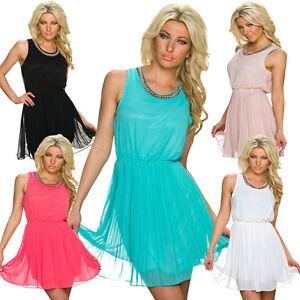 Damen kleid cocktailkleid plissee strass stein s 36 abiball minikleid hochzeit ebay - Plissee kleid lang ...