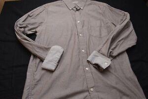 Ben-Sherman-Cotton-Large-Brown-White-Long-Sleeve-Contrast-Cuff-Men-039-s-Shirt