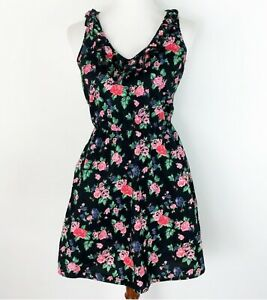 Fire-Los-Angeles-Small-Skater-Dress-Floral-Racerback-Black-Ruffle-Rose-Stretch