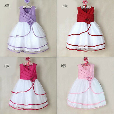 NEW Princess Kids Girls Xmas Clothes Fancy Flower Party Gown Formal Dresses 2-7Y