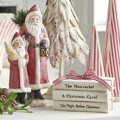 "RAZ Imports~8/"" Ticking Stripe Ribbon Stacked Christmas Books Decor~Tree//Country"