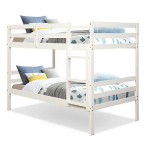Twin Over Twin Wood Bunk Beds W/Ladder & Safety Rail Pine Wood Bunk Bed White