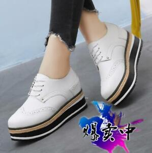 Womens-British-New-Wingtip-Brogues-Wedge-High-Heels-Punk-Lace-Up-Platform-Shoes