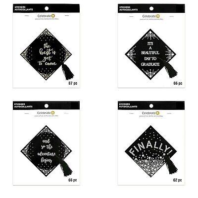 3-D Stickers Black Sparkly Graduation Caps