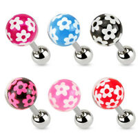 G74 - 6pc Epoxy Coated Flower Ball Stud 16g Tragus Rings Wholesale Body Jewelry