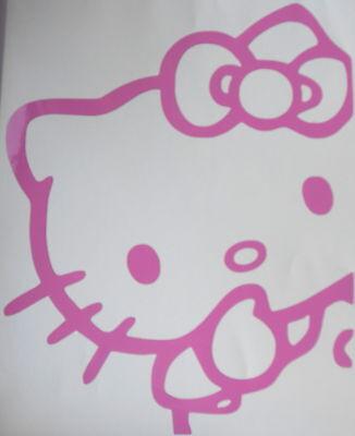 Hello Kitty Peeking Sticker, Wall, Window, Car, Vehicle