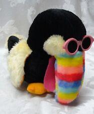 "Vintage Toucan Hip Hop Glasses Rainbow Taiwan ROC Beak Bird Plush 10"" Animal EUC"