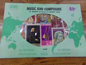 Harris 20 Music & Composers Tributes Genuine Postage Stamps in Sealed Envelope
