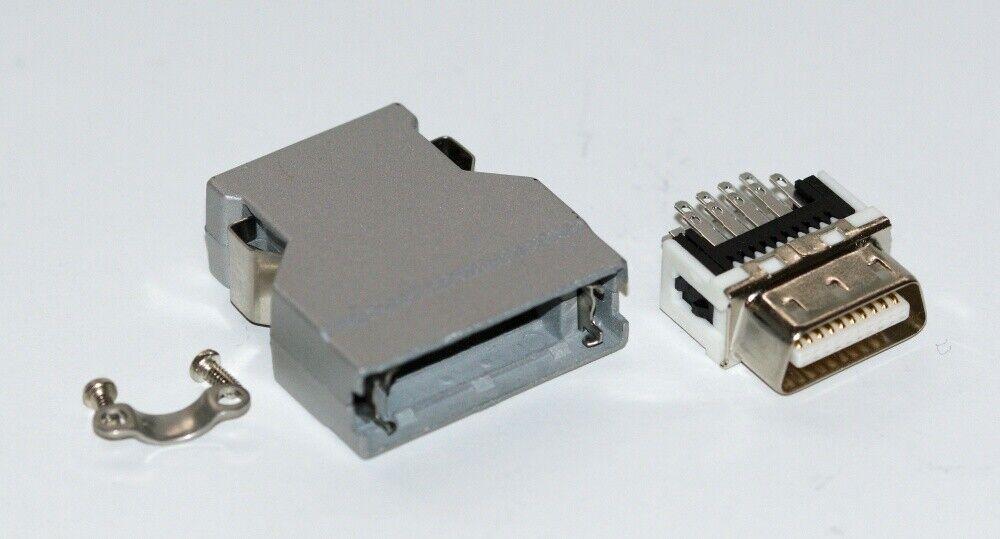 SCSI 20-pin solder plug, hood & cable clamp, DX40-20P(55) Mini Centronics type