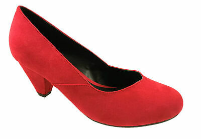 3784ab527b8 LADIES EEE FIT FAUX SUEDE LOW HEEL SLIP ON COURT SHOES RED SIZE UK 3-10 |  eBay