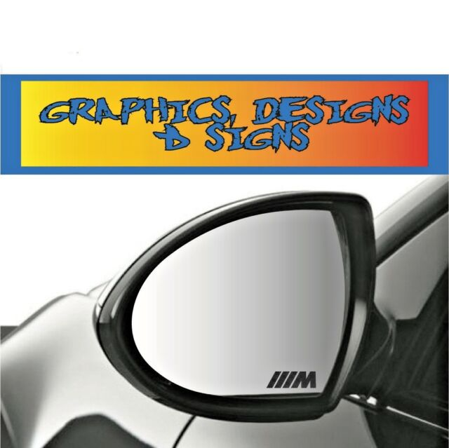 M SPORT MIRROR BADGE IN ANY COLOUR VINYL SMALL STICKERS DECALS GRAPHICS x3