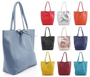 92fe17e00207 Image is loading Ladies-Soft-Italian-Real-Leather-Shopper-Tote-Bag-