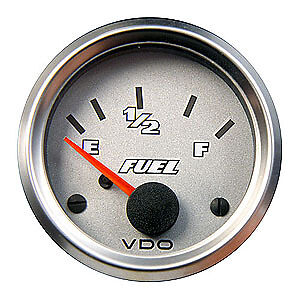 VDO-Cockpit-Titanium-GAUGE-Fuel-Level-Electric-10-180-ohm-52mm-Silver-Bezel