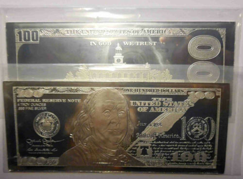 "COA ~ 2.5/"" x 6/"" 2 X 2019 PROOF 4oz CURRENCY SILVER BARS = 8 OZS  FRANKLIN $100"