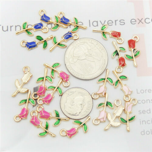 20pcs Enamel Alloy Assorted Rose Flowers Pendant Charms Jewelry DIY Accessories