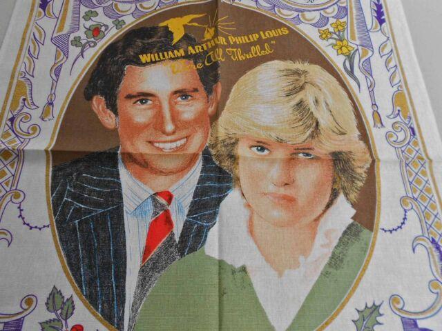 VINTAGE SOUVENIR TEA TOWEL LINEN/COTTON BLEND BY LAMOND 'CHARLES &DIANA' NEW