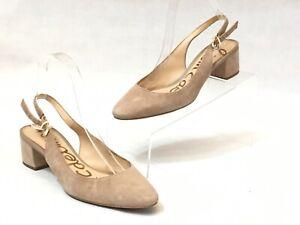 Sam-Edelman-Lorene-Women-039-s-Beige-Oatmeal-Slingback-Block-Heels-Size-6-5-M
