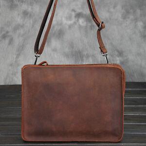 Envelope-Clutch-Bag-Men-039-s-Wristlet-Wallet-Shoulder-Leather-Messenger-Briefcase