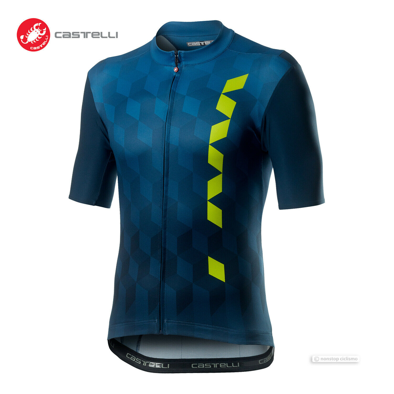 NEW 2020 Castelli FUORI Short Sleeve Full Zip Cycling Jersey DARK INFINITY Blau