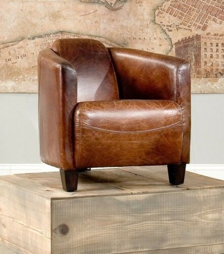 top grain leather club chair 28 quot w club arm chair cigar brown vintage top grain leather 8548