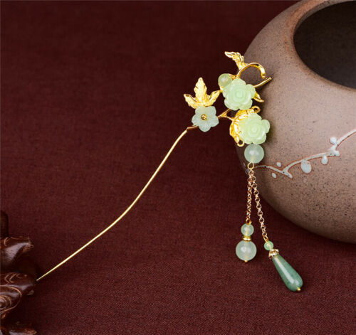 Details about  /Classical Girl Light Green Flower Alloy Hairpin Tassel Hair Stick Accessory Gift