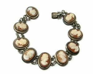 Antique-800-Silver-Carved-Shell-Cameo-Bracelet