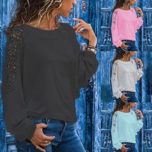 Damen Shirt Spitze Langarmshirt Sweatshirt Pulli Bluse Oberteile T-Shirt S-5XL